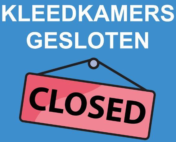Kleedkamers gesloten tot 9 oktober 2021